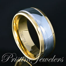 Mens Tungsten Ring 18K Gold Silver Polished Dome Wedding Band Engagement Jewelry