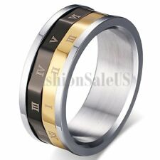 Mens Stainless Steel Rotatable Roman Numerals Wedding Band Rings Gift Size 5-11