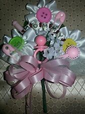 Baby shower MOMMY cute as a button corsage pink or blue bow