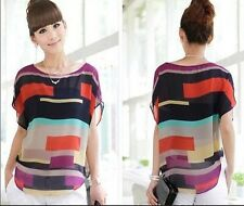 Bat T-shirt New ColorfulStriped Short Sleeve Sleeve Tops Summer Casual