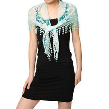 Women Triangle Shape Semi Sheer Tassels Floral Scarf Shawl