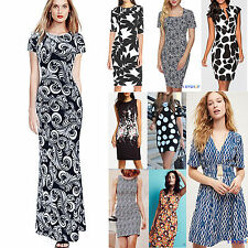 Women Floral Printed Bodycon Long Dress Party Evening Cocktail Summer Beach Maxi