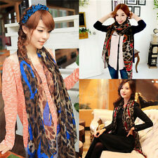 Fashion Women Leopard Long Soft Silk Chiffon Neck Scarf Wrap Shawl Scar New 017