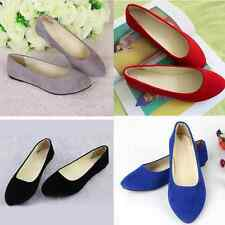 Womens Ballet Low Flats Shoes Pregnant Ladies Slipper Pointed Toe Plain
