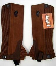 Riding YOUTH KIDS HALF SYNTHETIC CHAPS TOUGH 1 English Western HORSE HEAD BROWN