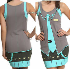 NEW Vocaloid Hatsune Miku Body Hugging Tank Costume Cosplay Dress Juniors XS-XL
