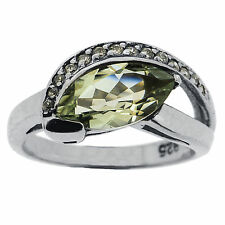 925 Sterling Silver 1.75 Ct Natural Green Amethyst & White CZ Ring