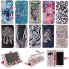 Magnetic Painted PU Leather Wallet Flip Card Holder Stand Case Cover For Phones