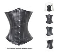 26 Double Steel Boned Waist Training Faux Leather Underbust Corset #8520B-FL