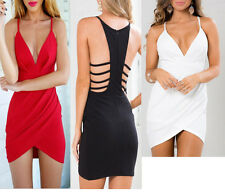 Women Sexy Lady Backless V Neck Bodycon Clubwear Party Cocktail Short Mini Dress