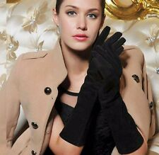 40cm long genuine suede leather fashion below elbow length suede gloves in black