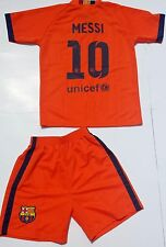 MESSI 10 BARCELONA Orange Soccer Jersey & Short US Seller and US Shipping YOUTH