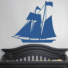 Sail Boat Nautical - Wall Vinyl Decal Sticky Family Kid Room Nursery Love Travel