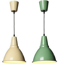 IKEA FOTO pendant light lamp aluminum shade Dome Green Beige Industrial Style