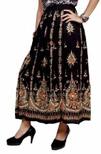 Rayon Embroidered Boho Hippie Handwork Gypsy Elastic Waist Long Skirt Dress