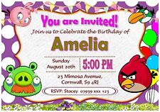 Personalised Angry Birds Birthday Invitations Party Invites With Envelopes - I4