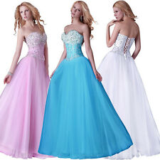 Beautiful Long CORSET Formal Evening Gown Bridesmaid Prom Party Wedding Dresses