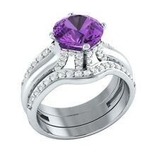 2.40 ct Natural Amethyst & Diamond Solid Gold Engagement Wedding Guard Ring Set