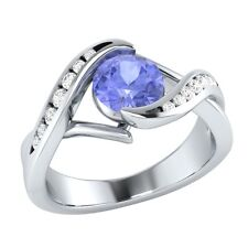 0.80ct Natural Tanzanite & Authentic Diamond Solid Gold Wedding Engagement Ring