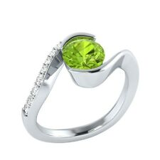 0.75 ct Real Peridot & Certified Diamond Solid Gold Wedding Engagement Ring