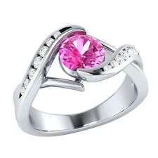 0.80 ct Natural Pink Sapphire & Natural Diamond Solid Gold Wedding Ring