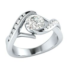 0.80 ct Certified White Sapphire & Real Diamond Solid Gold Engagement Ring
