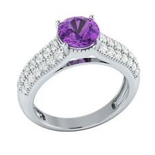 2.20 ct Natural Amethyst & Certified Diamond Solid Gold Wedding Engagement Ring