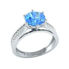 1.85ct Natural Topaz & Certified Diamond Solid Gold Wedding Engagement Ring
