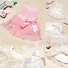 Summer Baby Girls Toddler Princess Tutu Dress Wedding Party Lace Dresses 0-2Y