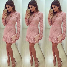 Women Sexy Lace Long Sleeve Bodycon Evening Party Cocktail Mini Dress Clubwear