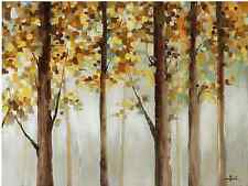 """Original Home Decor Hand-Painted Beige Yellow Trees Painting 35.5""""x 47.5"""" Art"""