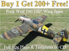 "Focke Wulf 190, 100"" WS Giant Scale RC Airplane Plans & Templates on CD"