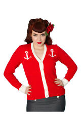 New Rockabilly Cardigan, STUNNING Nautical 50s Top, Red With Anchor Detail