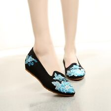 Fashion Women Pumps Flats Slip On Casual Ballerina Loafers Embroider Shoes H