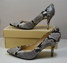 NIB MICHAEL KORS MK-FLEX MID PUMP NATURAL EMBOSSED SNAKE HI HEELS SHOES SZ 8-10