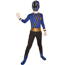 Blue Boys Power Rangers costume kids Samurai Fancy Dress child Morphsuit Cosplay