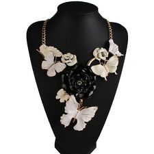 Women's Metal Plated Flower Butterfly Chunky Choker Bib Statement Necklace Chain