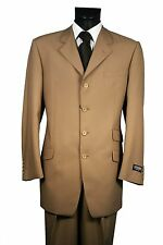 Men's Suit 100% Wool ,4 Button 3 Pockets no Vent Classic Fit Made In Italy 2818X