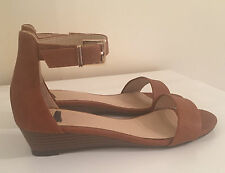 NEW Oasis Tan Wedge Heel Buckle Strap Summer Sandals Size 5/6