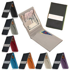 New Men's Faux Leather Silver Money Clip Slim Wallet ID Credit Card Holder Case