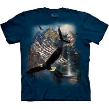 REFLECTIONS OF FREEDOM T-Shirt Soaring Bald Eagle USA American Flag S-3XL NEW