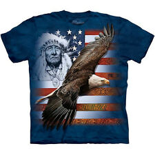 SPIRIT OF AMERICA T-Shirt Native American Flag Indian Chief Bald Eagle S-3XL NEW