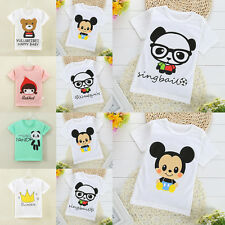 Vogue Baby Kids Girls Boys Cartoon Cotton Tees Tops T-shirt Blouse Clothes 1-7Y
