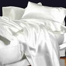 LUXURY 1000 TC WHITE SOLID SATIN SILKY COMPLETE UK SIZE SHEET SET / DUVET SET