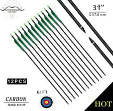 "12Pk  Archery Arrows Green&White Carbon Arrows 28-32"" Screw Tip Hunting Arrows"
