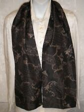 Dual Paisley Scarf Charcoal Gray Silver Gold Polyester Multi-Color