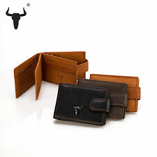 Men Vintage Genuine leather Wallet Short Trifold Zipper Purse Card holder