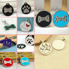 Round Bling Engraved Disc Disk Dog Cat Tag Paw Bone Metal Pet ID Glitter Cute