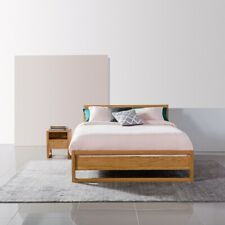 Bruno Queen Size Timber Bed Frame - Solid Oak Wood - 213x162cm