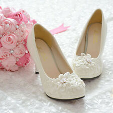 Handmade Pearl White Lace Flowers Bridal Wedding Shoes High Heels Flat 012 O